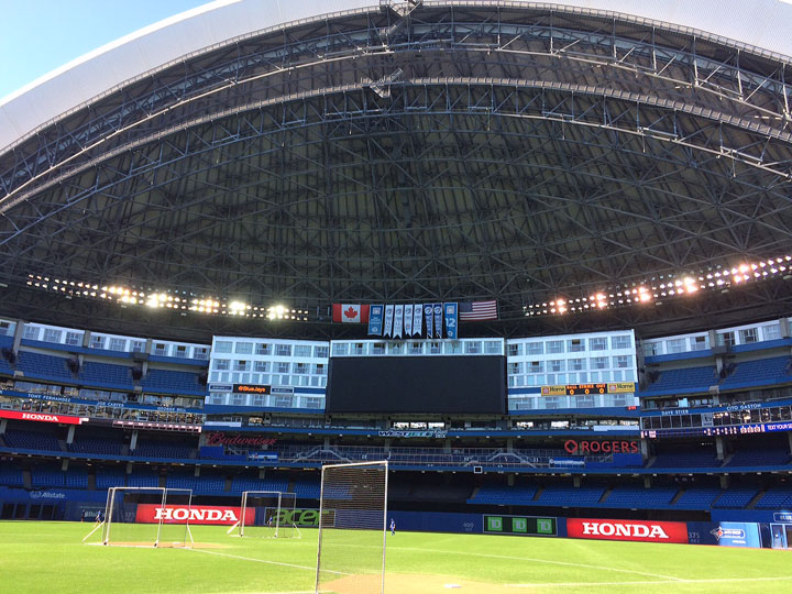 FILE: This August 13, 2015 photo shows the interior of the Rogers Centre in Toronto, home of the Toronto Blue Jays.