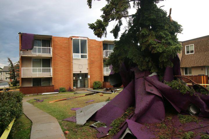 Roof blown off in Calgary NE