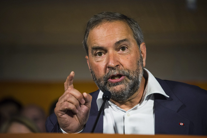 NDP Leader Thomas Mulcair Mulcair speaks at a press conference in Toronto on Thursday, August 6, 2015.