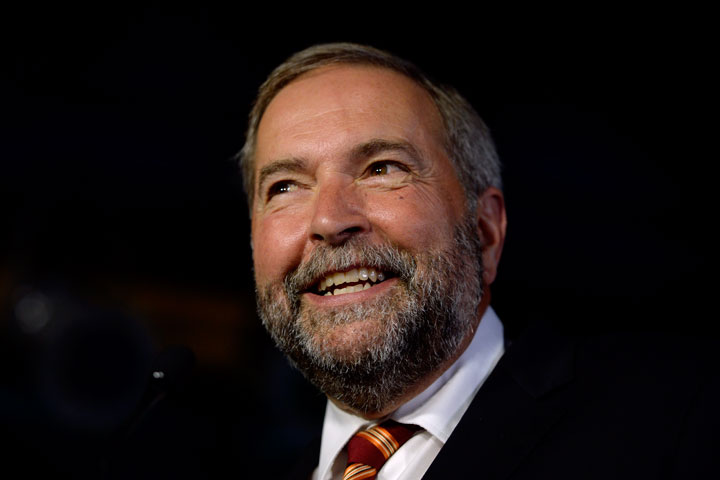 """NDP Leader Thomas Mulcair is pictured as attends the launch of his new autobiography, """"Strength of Conviction"""", in Montreal on Monday, August 10, 2015."""