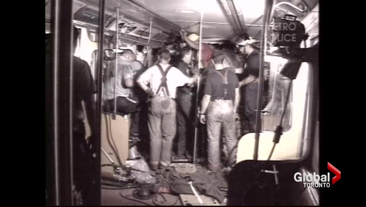 The scene inside the subway car after the worst crash in TTC history on Aug. 11, 1995.