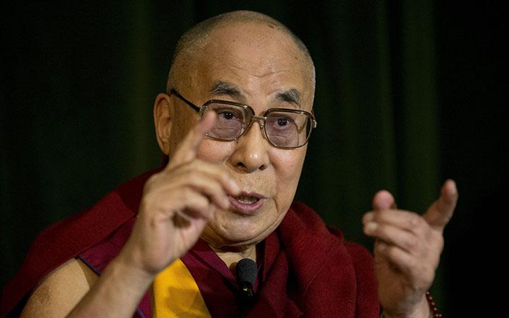 The Dalai Lama speaks at the press conference The Dalai Lama at Magdalen College, Oxford, Britain - 14 Sep 2015.