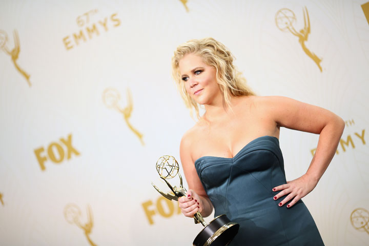 Actress/writer Amy Schumer, winner of the award for Outstanding Variety Sketch Series for 'Inside Amy Schumer', poses in the press room at the 67th Annual Primetime Emmy Awards at Microsoft Theater on September 20, 2015 in Los Angeles, California.