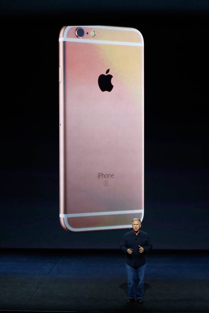 Apple Senior Vice President of Worldwide Marketing Phil Schiller announces new a color for the new iPhone 6s and 6s Plus during a Special Event at Bill Graham Civic Auditorium September 9, 2015 in San Francisco, California.
