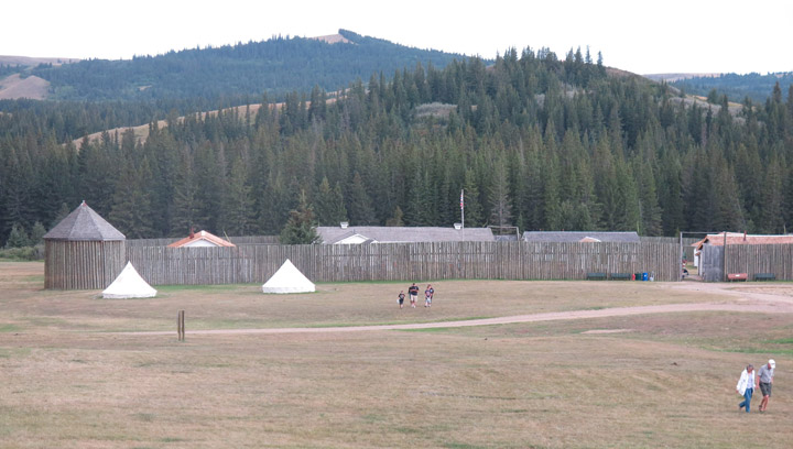 Tourists visit a replica of Fort Walsh, Sask., on August 21, 2015. The original fort was built by the NWMP in 1875 and only two kilometres from the site of the Cypress Hills Massacre, where more than 20 First Nations people were murdered on June 1, 1873.