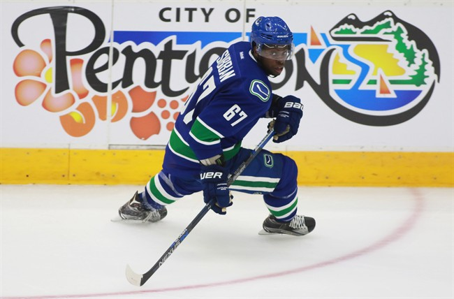 Vancouver Canucks' Jordan Subban skates during action at the NHL Young Stars tournament in Penticton B.C. on Sept 11, 2015.