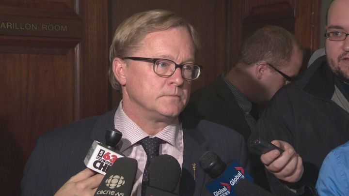 Education Minister David Eggen speaks to the media following a meeting with Edmonton Catholic Schools Wednesday, Sept. 23, 2015.