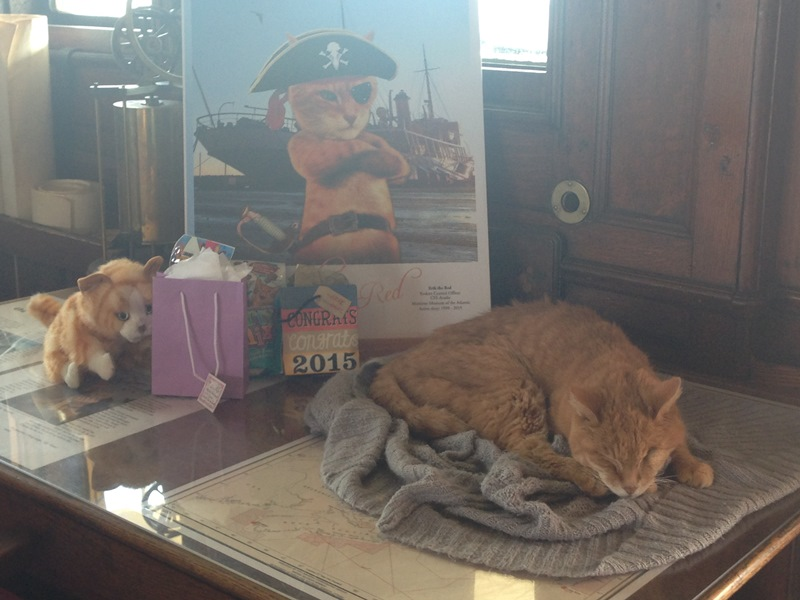 Erik the Red is retiring after 17 years of being the mouser aboard the CSS Acadia on Sept. 20, 2015.
