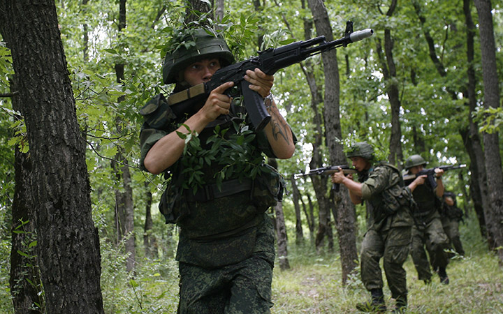 Russian Special Forces soldiers from the army's Intelligence unit take part in a military drill at a training ground near the village of Molkino, Krasnodar region, on July 10, 2015.
