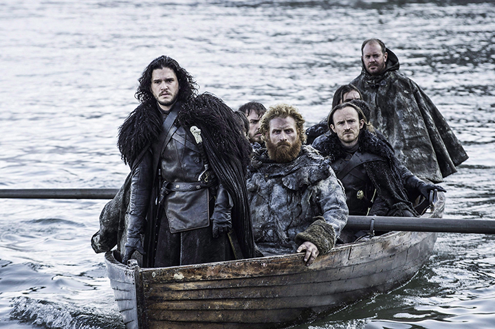 """This image released by HBO shows Kit Harington as Jon Snow, left, in a scene from """"Game of Thrones."""" There are a mountain of """"Game of Thrones"""" Emmy nominations this year, and among them, a cadre of Canadian contenders."""