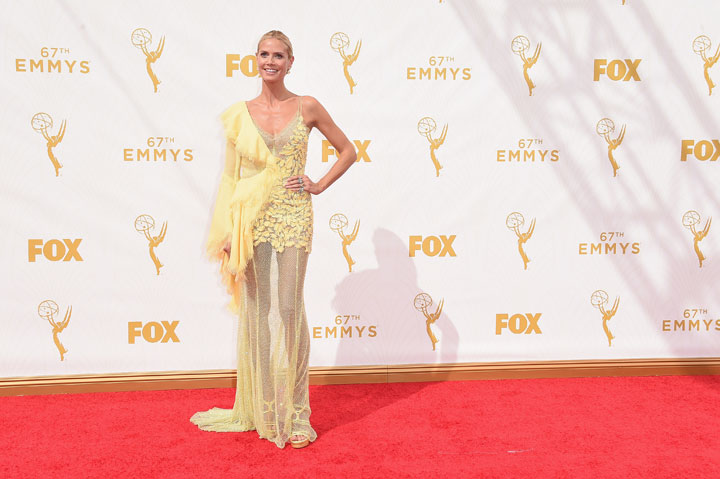 TV personality/model Heidi Klum attends the 67th Annual Primetime Emmy Awards at Microsoft Theater on September 20, 2015 in Los Angeles, California.