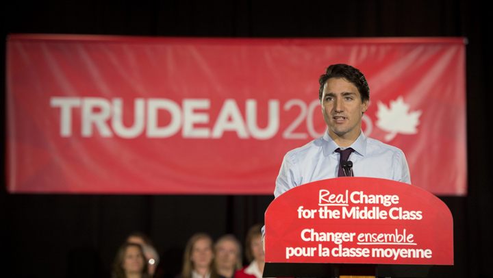 Liberal leader Justin Trudeau speaks to supporters during a campaign event in Toronto, Monday September 21, 2015. THE CANADIAN PRESS/Adrian Wyld.