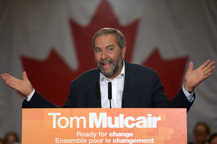 NDP Leader Tom Mulcair gestures while he speaks to supporters at a campaign rally in Penticton, B.C., on Monday, August 31, 2015.