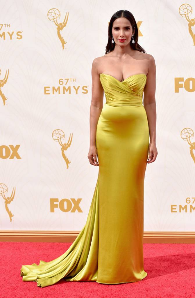 TV personality Padma Lakshmi attends the 67th Emmy Awards at Microsoft Theater on September 20, 2015 in Los Angeles, California.