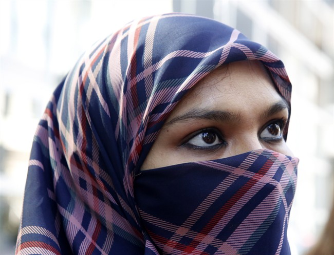 Zunera Ishaq, pictured in 2015, was at the centre of a case involving whether she could wear a niqab while taking her citizenship oath. Muslim women in Quebec are now facing new restrictions on where and when they can wear a similar veil.