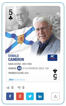 Vancouver-based think-tank Aha! Insights used a deck of cards to rank Canada's premiers. But it used a picture of author Silver Donald Cameron instead of former premier Donald Cameron in its deck.