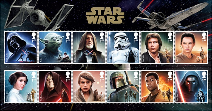 Star Wars stamps produced by Britain's Royal Mail will be available to the public Oct. 20, 2015.