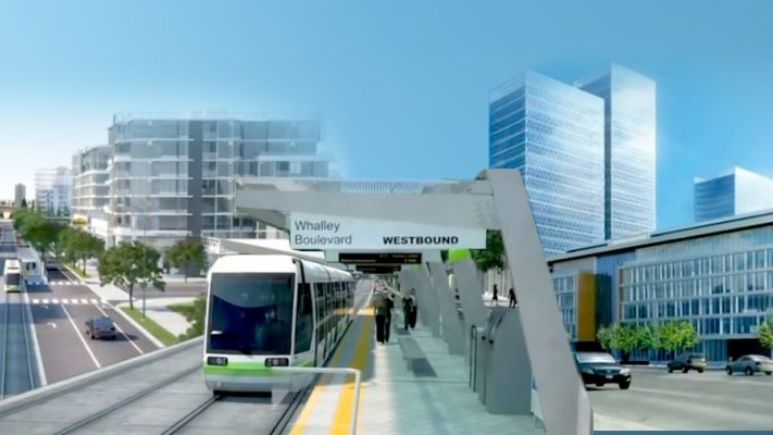 An artist's rendering of what Surrey's LRT might look like.