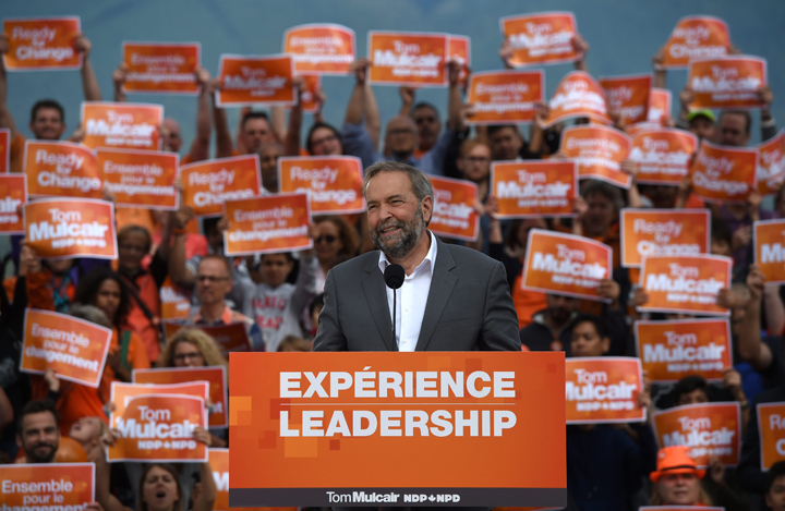 NDP leader Tom Mulcair holds a rally in downtown Vancouver, B.C. on Sunday, September 13, 2015.