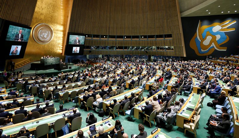 US President Barack Obama delivers his address during the United Nations Sustainable Development Summit which is taking place for three days before the start of the 70th session General Debate of the United Nations General Assembly at United Nations headquarters in New York, New York, USA, 27 September 2015.