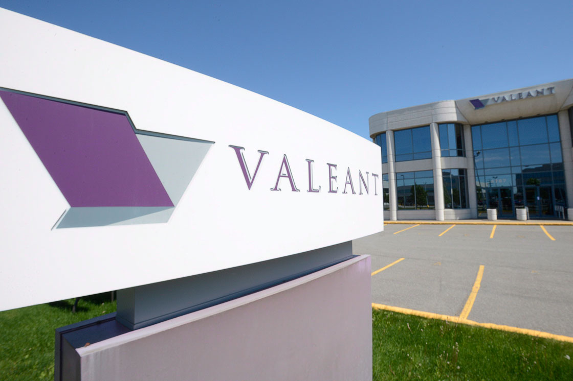 The head office and logo of Valeant Pharmaceutical are pictured in Montreal.