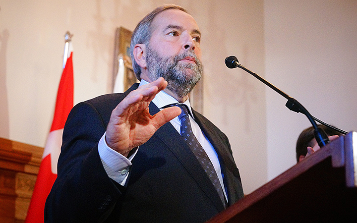 NDP Leader Tom Mulcair at a press conference at City Hall, Montreal, Que., September 23, 2015.