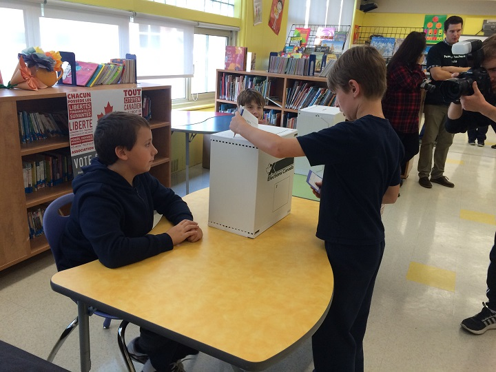 Dorval Elementary School students voting in a mock federal election, Wednesday, October 14, 2015.