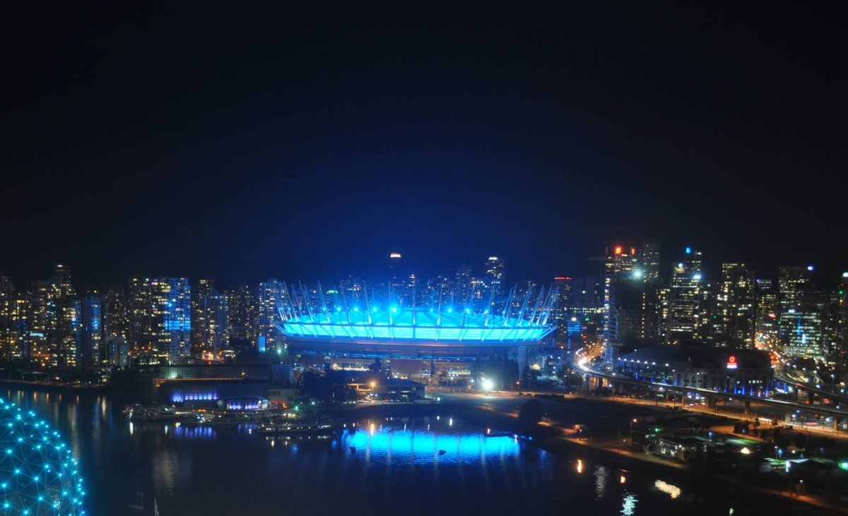 """BC Place was glowing teal this Sunday to light the way for the """"2nd Annual Lantern Walk of Awareness."""" October 7 marks the International Awareness of Trigeminal Neuralgia Awareness Day."""