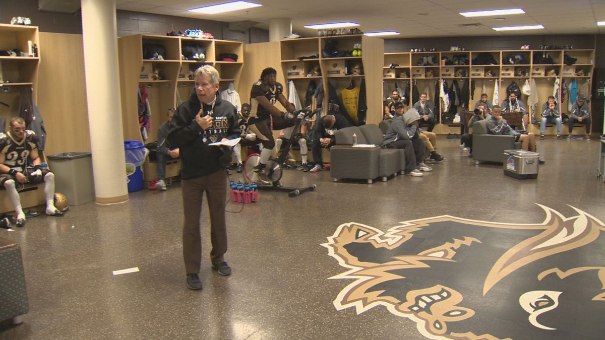 Bisons head coach Brian Dobie makes his pre-game speech.