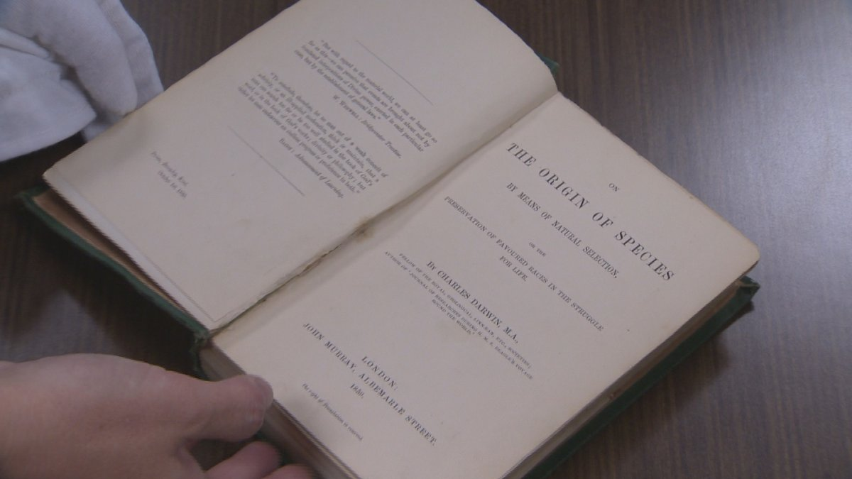 A first edition copy of Charles Darwin's On the Origin of Species was returned to the library at MSVU in Halifax on October 29, 2015. This was one of thousands of collectible items stolen by John Tillman.