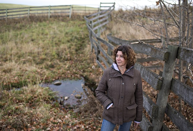 Lonni Saken is pictured by a contaminated source of water on her farm near Edson, Alta., on Friday, Oct. 30, 2015. An Alberta energy company has been ordered to transport water to a family dairy farm where the ground water has been contaminated by chemicals from a nearby gas plant.