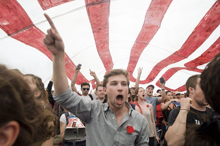 This file photo shows the then spokesperson for the CLASSE, Gabriel Nadeau-Dubois demonstrating in Montreal on May 22, 2012. The Supreme Court of Canada has agreed to hear an appeal in his case. Thursday, Oct. 22, 2015.