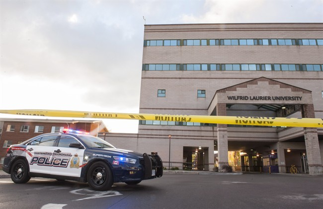 Wilfrid Laurier University's campus was on lockdown after security was tipped to a possible threat on Friday, Oct. 16, 2015 in Waterloo, Ont.