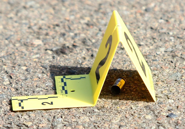 A bullet casing is seen on the ground in this file photo.