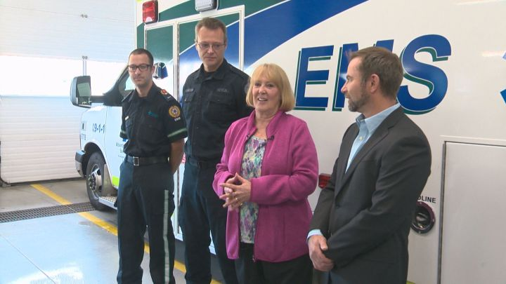 Jason McNeil, Todd Dundon and Sharon Smith at the Bonnie Doon EMS station Tuesday, Oct. 6, 2015.