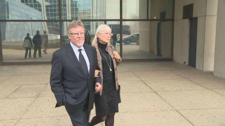 Richard and Gayska Suter leaving the Edmonton law courts.