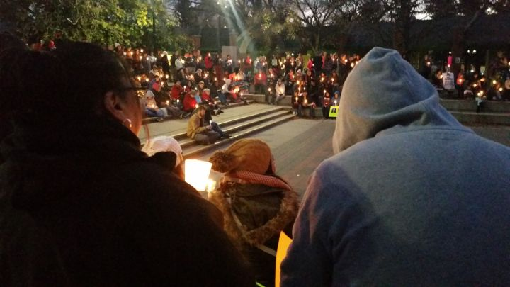 Hundred gather in candlelight for Sisters in Spirit vigil