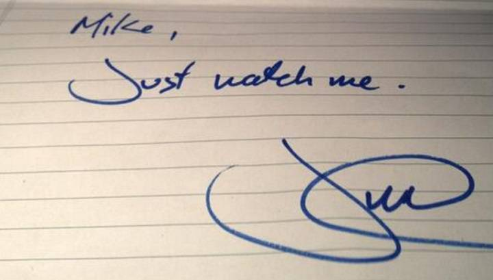 "Justin Trudeau's ""Just watch me"" note has sold for more than $12,000 on Ebay"