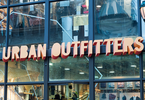 Urban Outfitters retail store sign. The clothing chain will phase out short-notice work schedules in New York state.