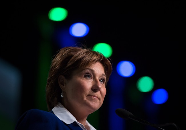 British Columbia Premier Christy Clark pauses while addressing the LNG in BC Conference in Vancouver, B.C., on Wednesday October 14, 2015.