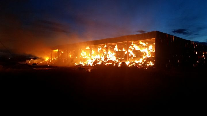 Magrath Fire Department responded to a hay bale fire South of Lethbridge Saturday afternoon that is expected to burn for two days.