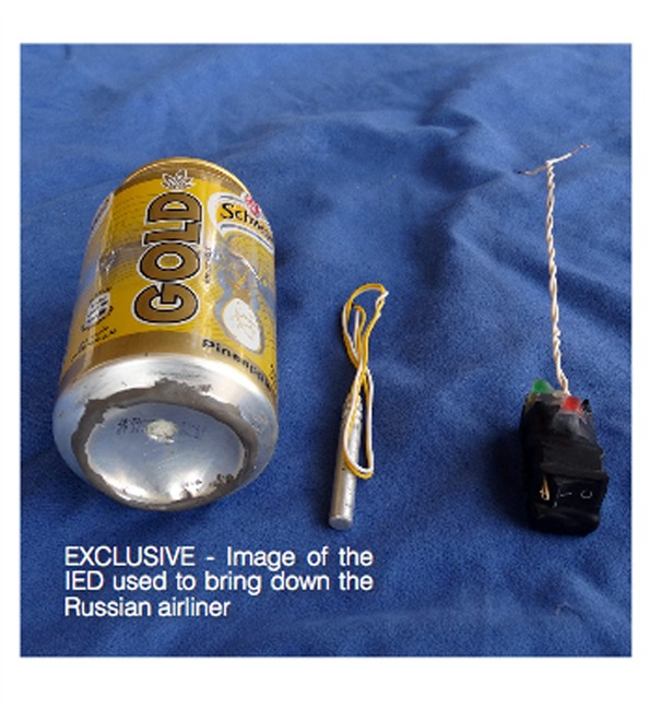 This undated image made available in the Islamic State's English-language magazine Dabiq, Wednesday, Nov. 18, 2015, claims to show the bomb that was used to blow up a Metrojet passenger plane.
