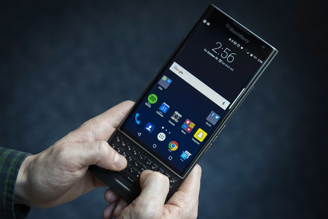 The Blackberry Priv is shown in Toronto, Friday, Oct. 30, 2106.