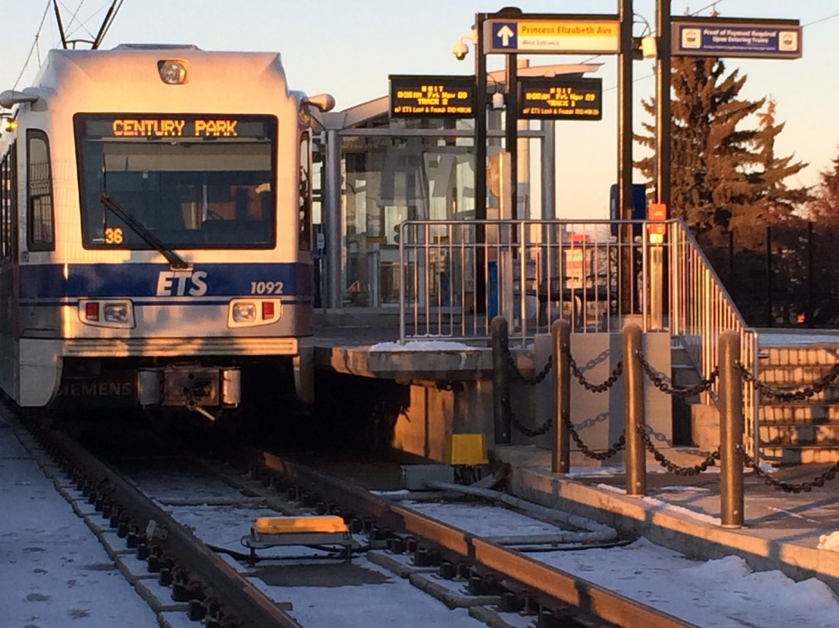An Edmonton Transit Service LRT train at the NAIT station in Edmonton, Alberta. November 20, 2015.