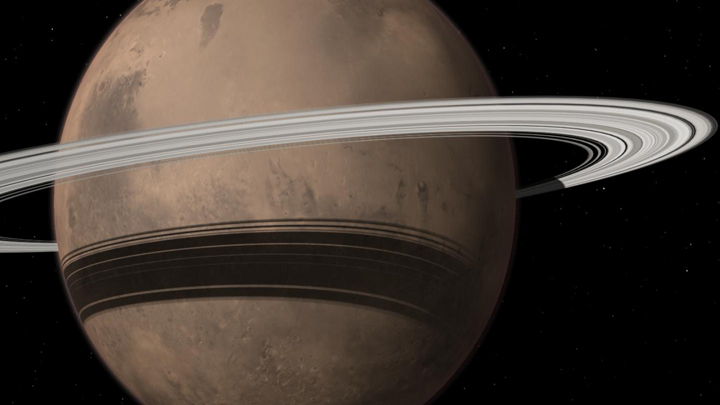 Mars could gain a ring in 10-20 million years when its moon Phobos is torn to shreds by tidal forces due to Mars' gravitational pull.