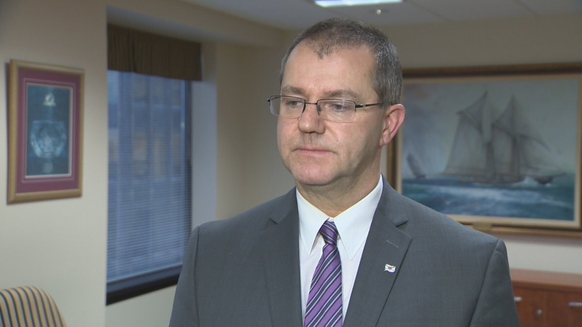 Former chief of staff to Premier Stephen McNeil, Kirby McVicar is pictured here during an interview with reporters.