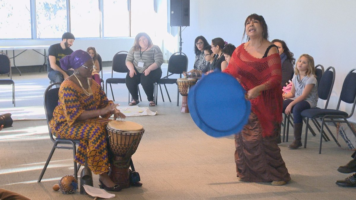 Performers at the Multicultural Council of Saskatchewan's drum workshop.