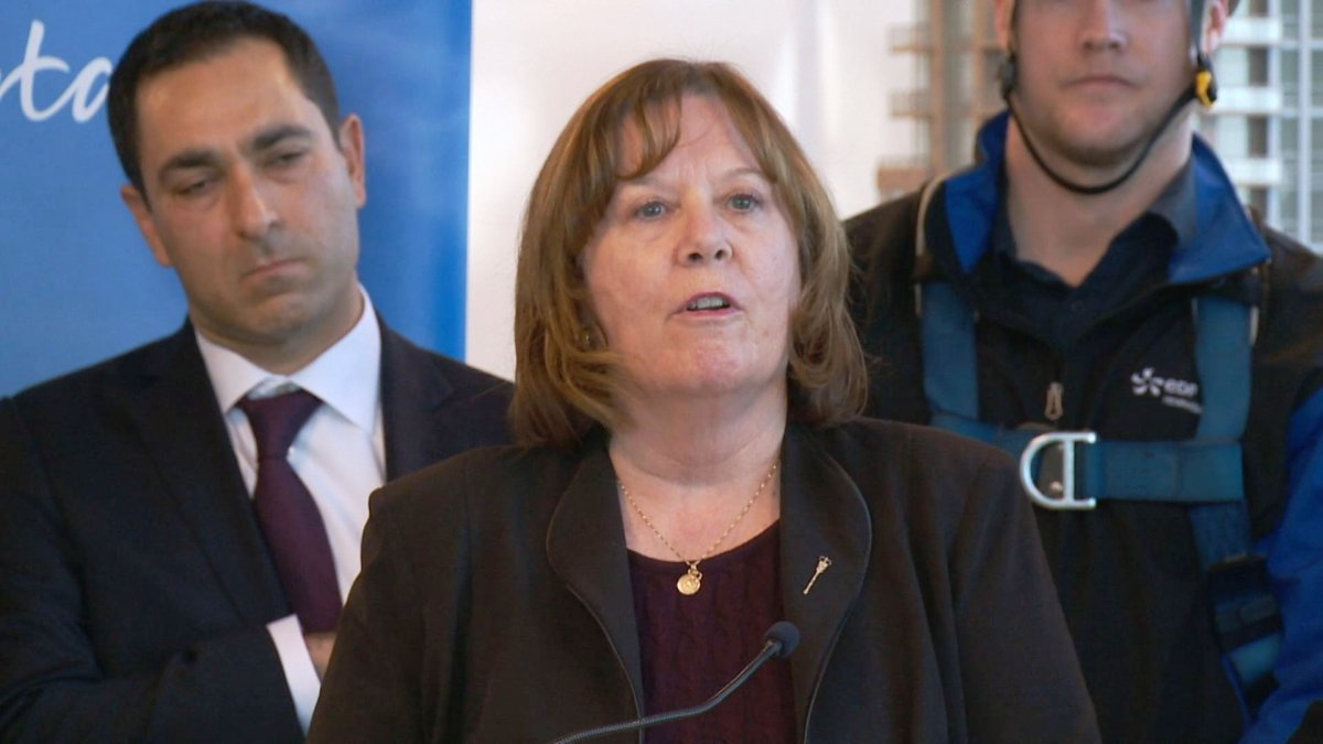 Energy Minister Margaret McCuaig-Boyd discusses the province's plan to transition to renewable energy at a news conference in Calgary on Monday, Nov. 30, 2015.