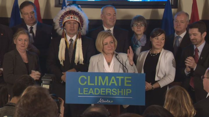 A photo of Premier Rachel Notley when Alberta released its long-awaited report on climate change policy Nov. 22, 2015.