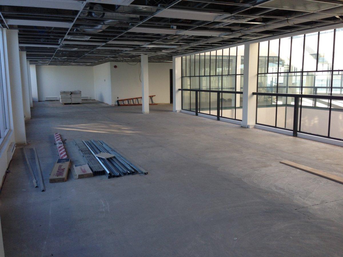 An empty floor in an office building near Calgary City Hall.
